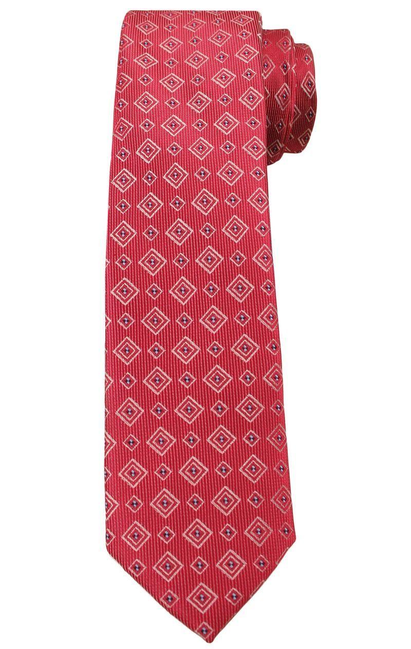 Czerwony Elegancki Krawat -Angelo di Monti- 6 cm, Męski, Wzór Geometryczny KRADM1490
