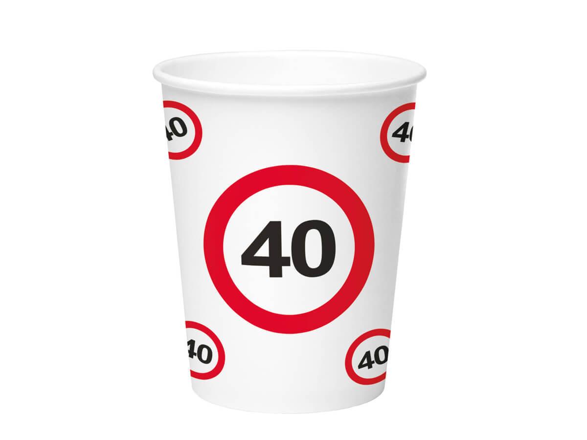 Kubeczki Znak zakazu 40tka - 350 ml - 8 szt.