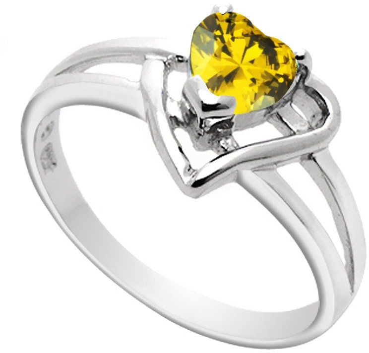 Srebrny Pierścionek z Żółtym Sercem