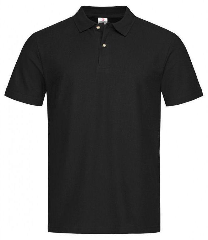 Czarna Bawełniana Koszulka POLO -STEDMAN- Męska, Krótki Rękaw, z Kołnierzykiem, Casualowa TSJNPLPOLOST3000blackopal