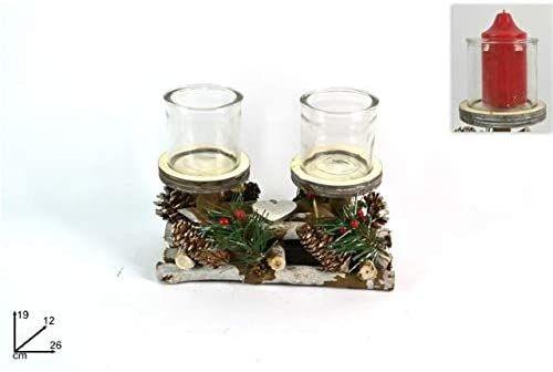 Dwa świeczniki Esse 26 x 12 x 19 cm, wielokolorowe