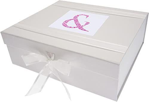 White Cotton Cards Alfabetyka, duże pudełko na pamiątkę, różowa i biała deska, 27,2 x 32 x 11 cm