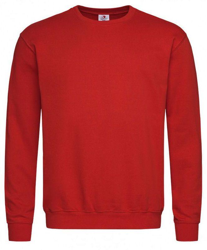 Czerwona Bluza Męska, Okrągły Dekolt -STEDMAN- Bez Kaptura, Jednokolorowa, Bez Nadruku SWJNPLST4000scarletred
