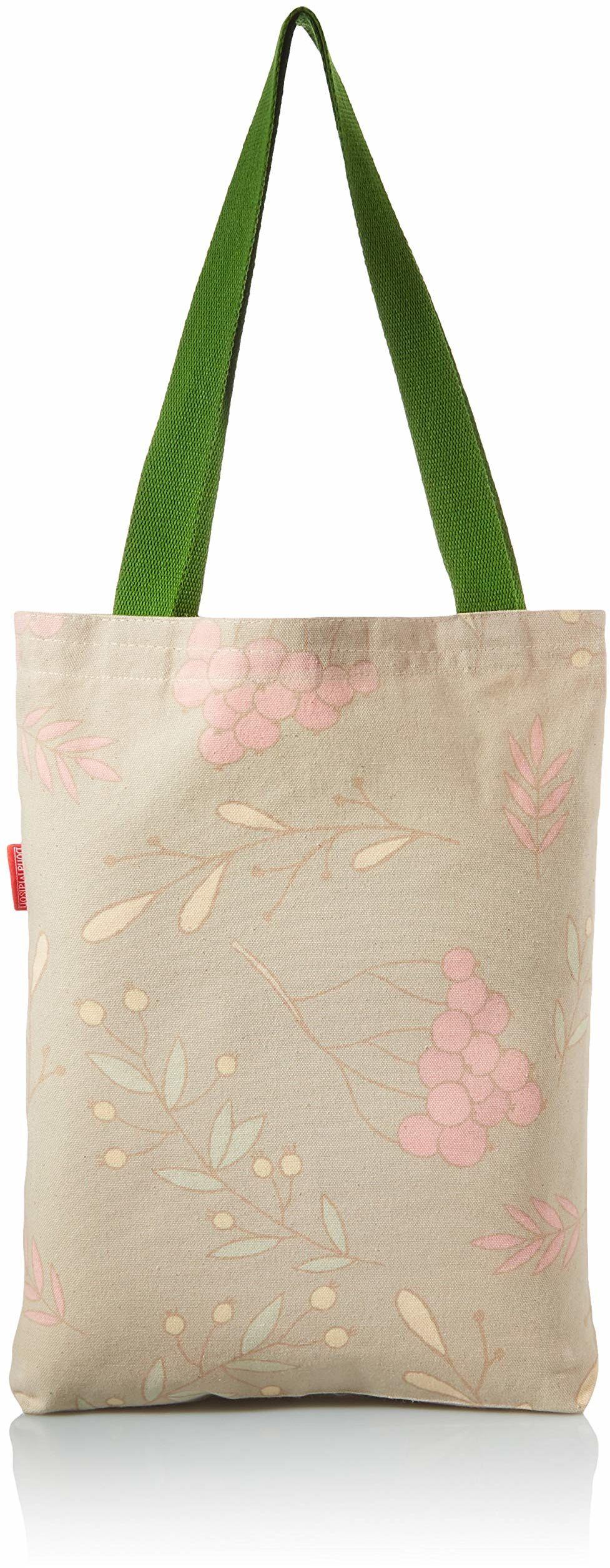 Bonamaison Drukowana torba na zakupy, torba na zakupy wielokrotnego użytku, torba na zakupy, można prać w pralce, składana, płócienna torba z zielonymi uchwytami, rozmiar: 34 x 40 cm