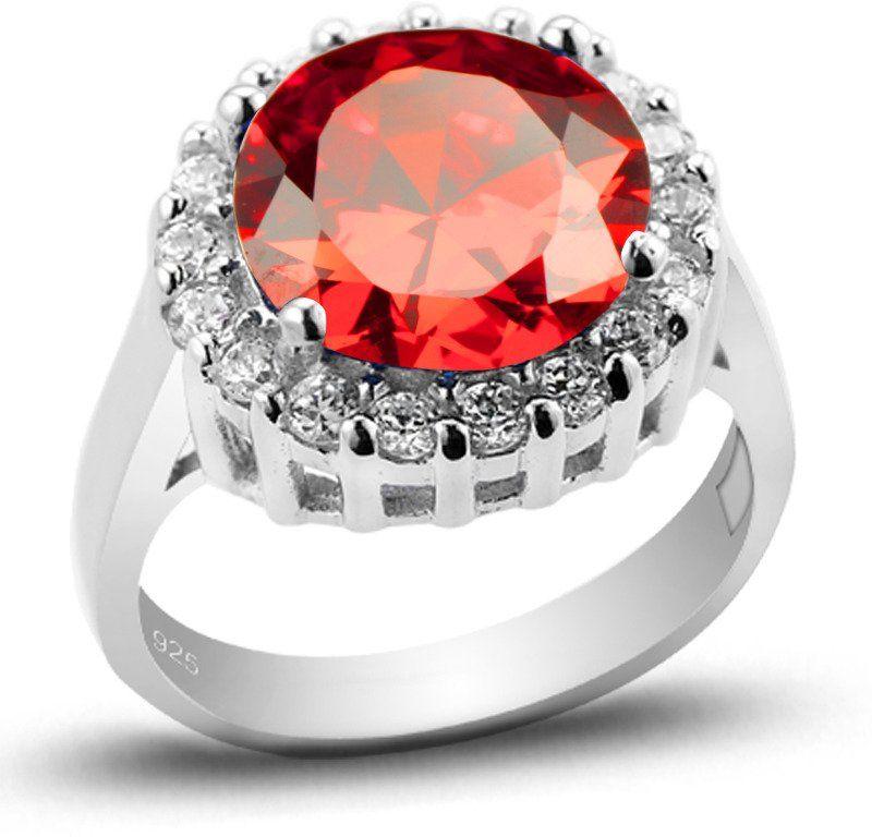 Pierścionek Srebrny Okrągłą Czerwoną Cyrkonią