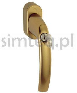 Klamka okienna z kluczem Atlanta Secustik F4/stare złoto - trzpień 32-42 mm