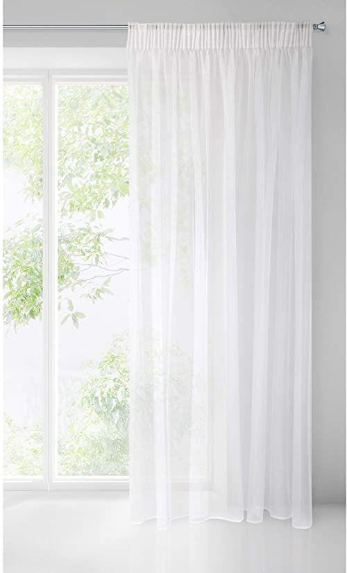 Design91 Gładka, przezroczysta taśma marszcząca, błyszcząca, do sypialni, pokoju dziecięcego, salonu, biała, 135 x 270 cm