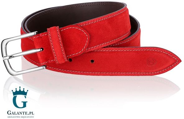 Czerwony pasek do spodni miguel bellido casual/sport 945-35-8886-12-013