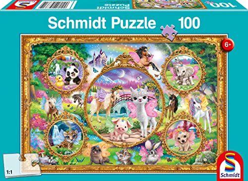 Schmidt Spiele 56371 Animal Club, świat zwierząt z jednorożcem, 100 elementów puzzli dziecięcych