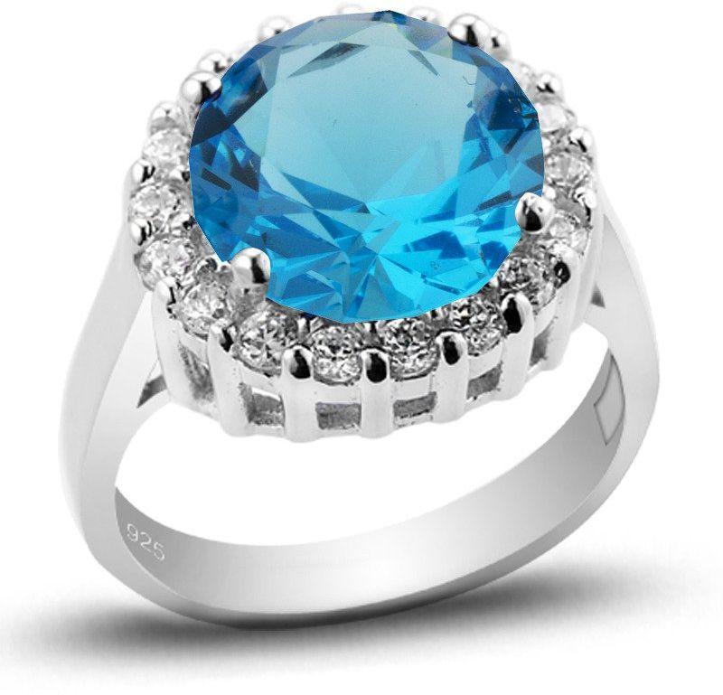 Pierścionek Srebrny z Okrągłą Niebieską Cyrkonią - Niebieski
