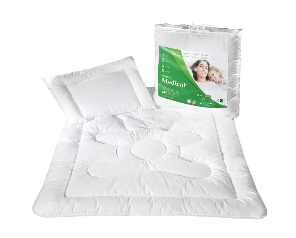 Kołdra dla dzieci 100x135 poduszka 40x60 Medical 600g+220g biała antyalergiczna AMW