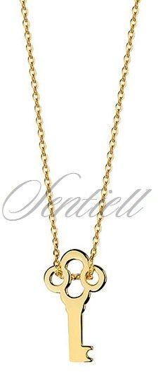 Srebrny naszyjnik pr.925 pozłacany z kluczykiem - żółte złoto
