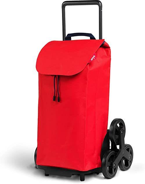 Gimi Tris wózek na zakupy, torba hydrofobowa, system 3 kółek, składany stelaż, pojemność: 52 l, maksymalne obciążenie: 30 kg, rama: stal/tworzywo sztuczne, torba na zakupy: poliester, czerwony