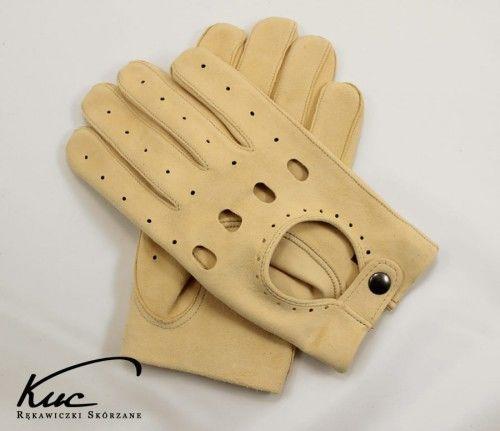 Męskie rękawiczki samochodowe - irchowe