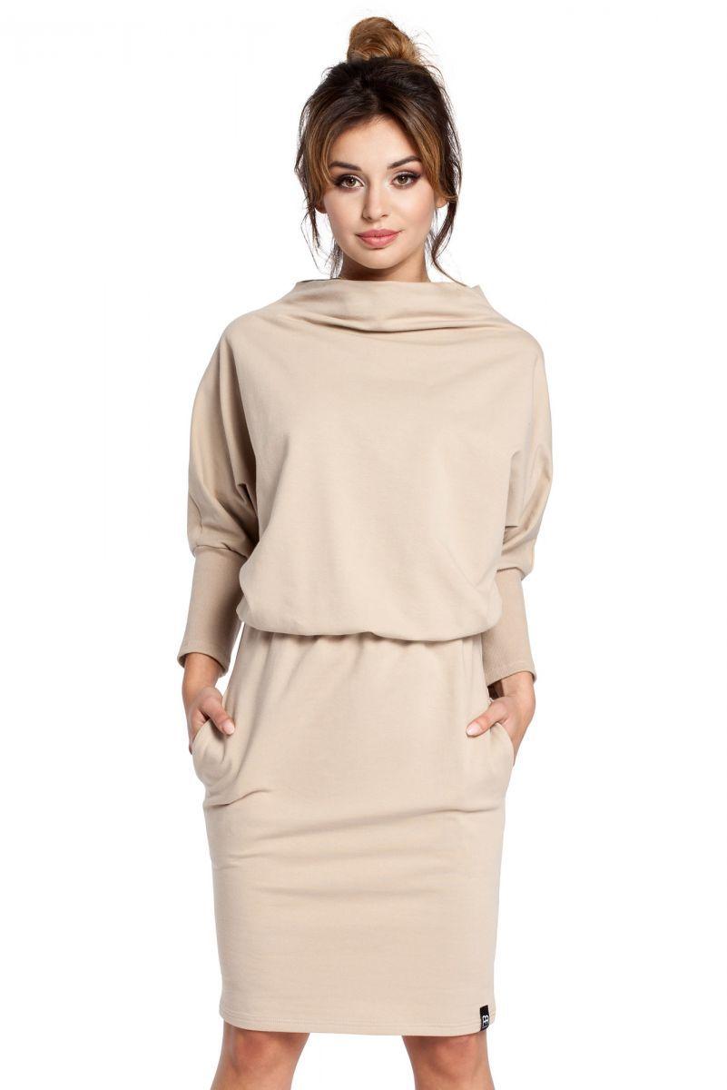 B032 sukienka beżowa