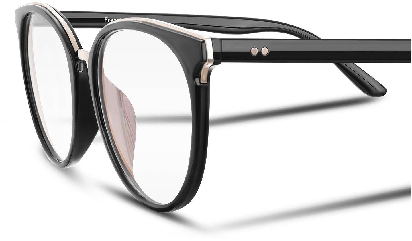 Okulary Kocie Oczy Korekcyjne z Antyrefleksem Zerówki POL-BLF-727K