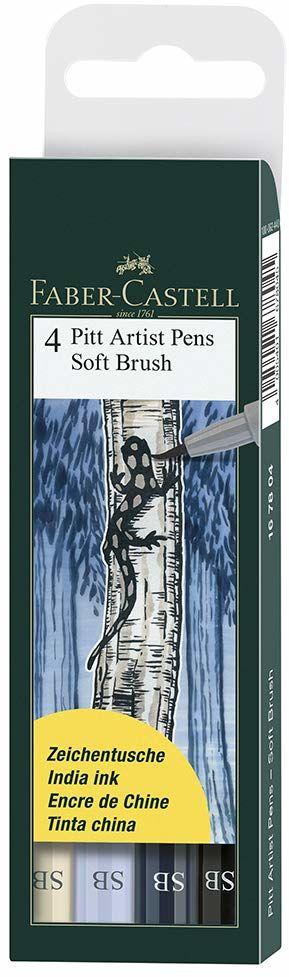 Faber-Castell Pitt Artist Pen SB 167804 pisaki tuszowe, zestaw 4 sztuk
