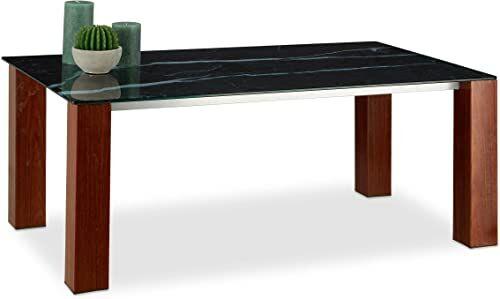 Relaxdays stolik kawowy, blat ze szkła hartowanego, metalowe nogi z wykończeniem z palisandra, czarny/brązowy, wys. x szer. x głęb.: 109 x 60 x 42 cm