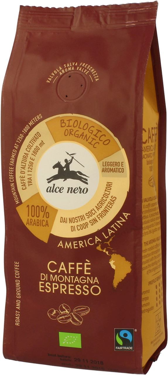 Kawa Mielona Espresso 100% Arabica Fair Trade BIO 250g - Alce Nero