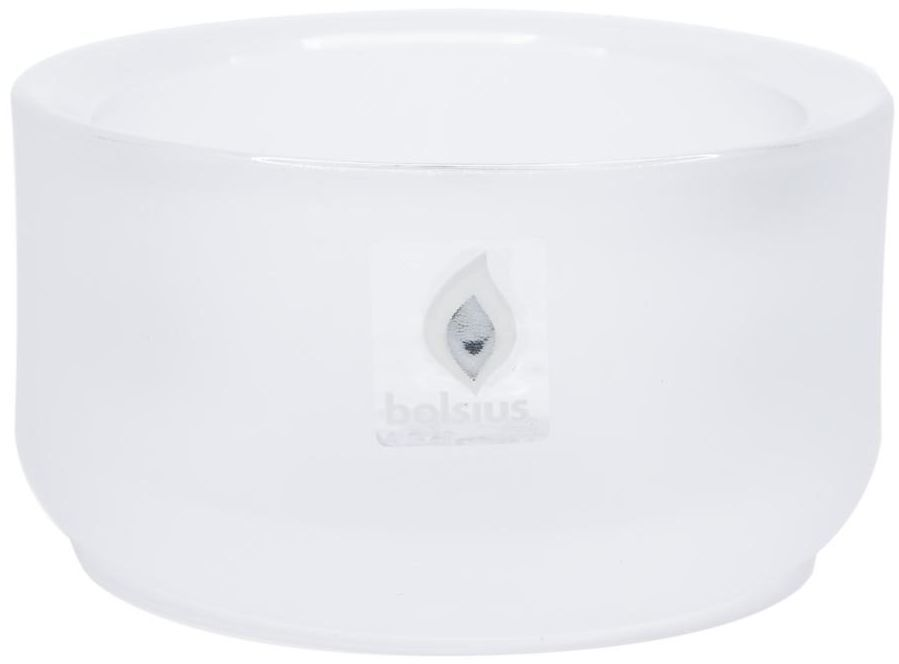 Świecznik szklany wys. 4.6 cm biały