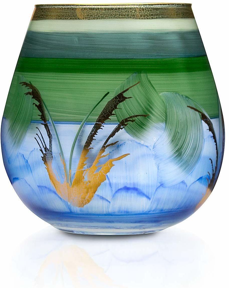 Angela Neue Wiener Werkstätte Wazon/świecznik VESUVIO Laguna szklany wazon pomalowany, pozłacany, szkło, zielony, średni rozmiar