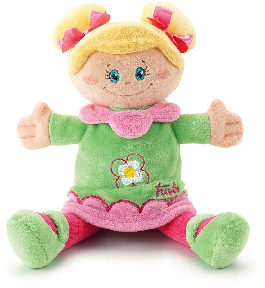 Pluszowa lalka w zielonej sukience, przytulanka, 64093-Trudi, zabawki dla niemowląt