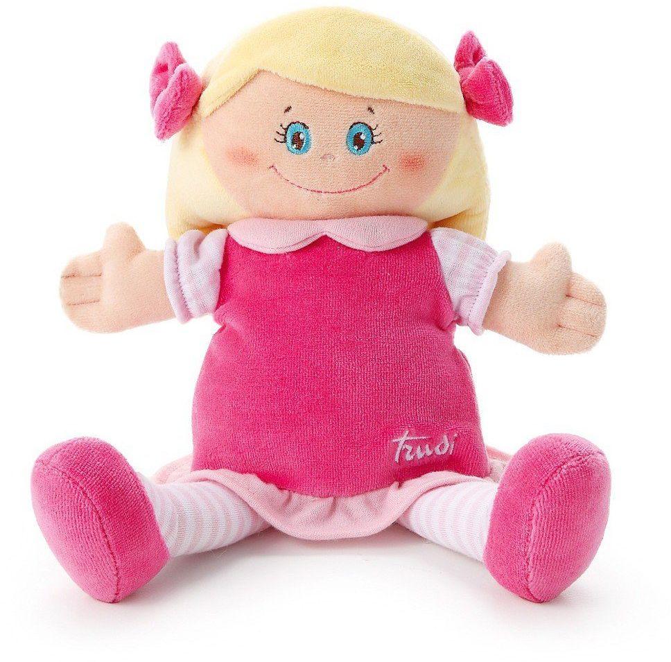 Pluszowa lalka w różowej sukience, blondynka, przytulanka, 64420-Trudi, zabawki dla niemowląt