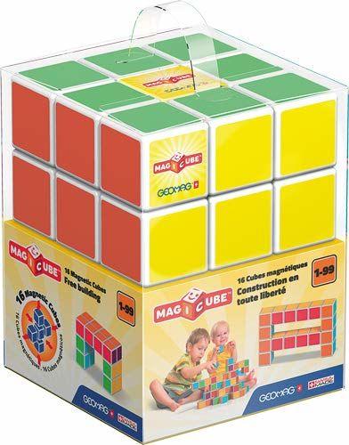 Geomag 126 - Magicube Free Building 16 kostek magnetycznych do konstrukcji, skrzynka budowlana zabawka edukacyjna