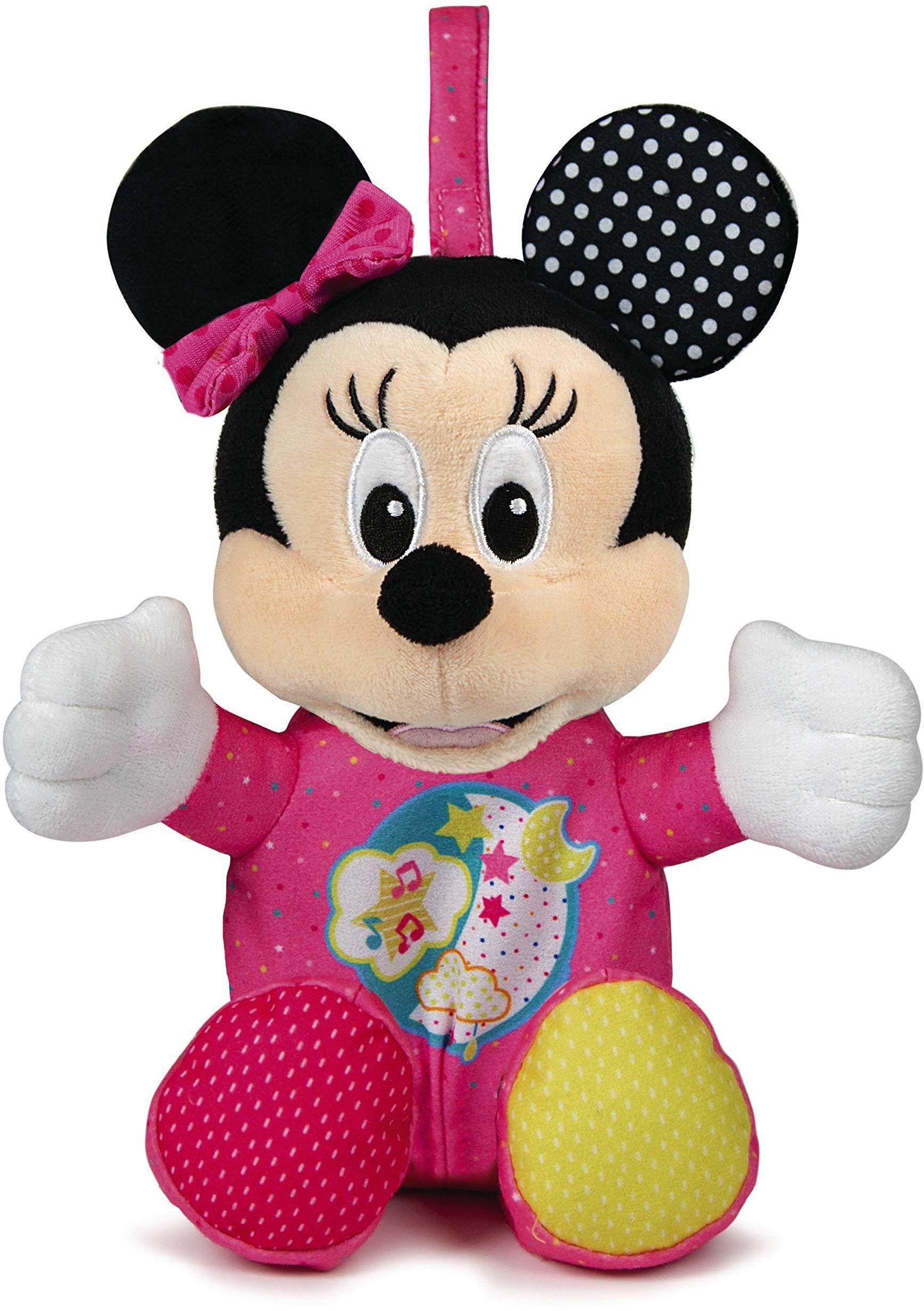 Clementoni 17207 Disney Baby  Minnie świecący pluszak dla małych dzieci i niemowląt, pluszak ze światłem i muzyką, pomoc w zasypianiu dla dzieci