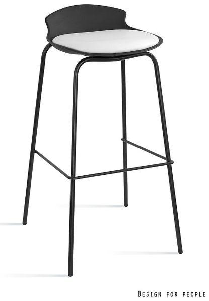 Krzesło barowe / hoker Duke czarny / biały Unique
