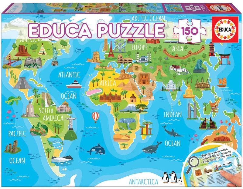 Educa Puzzle Zabytki na mapie świata 150 el. 18116