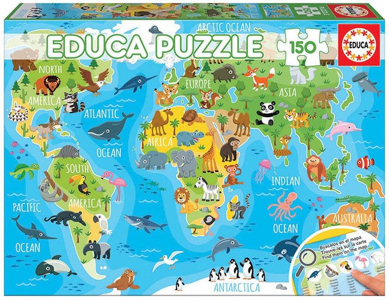 Educa Puzzle Zwierzęta na mapie świata 150 el. 18115