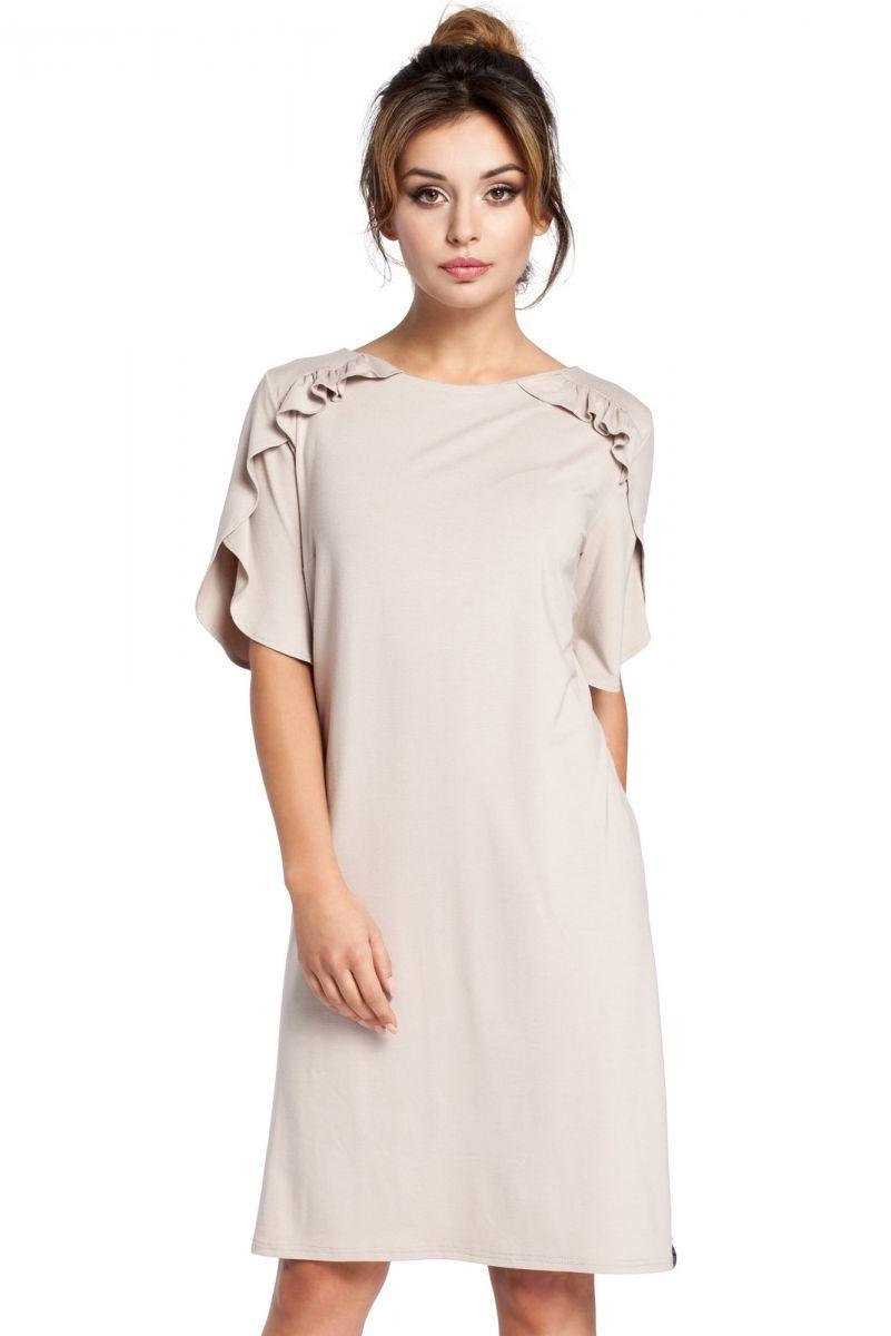B035 sukienka beżowa