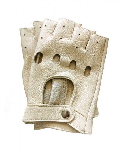Jasne, kremowe rękawiczki bez palców ze skóry jelenia