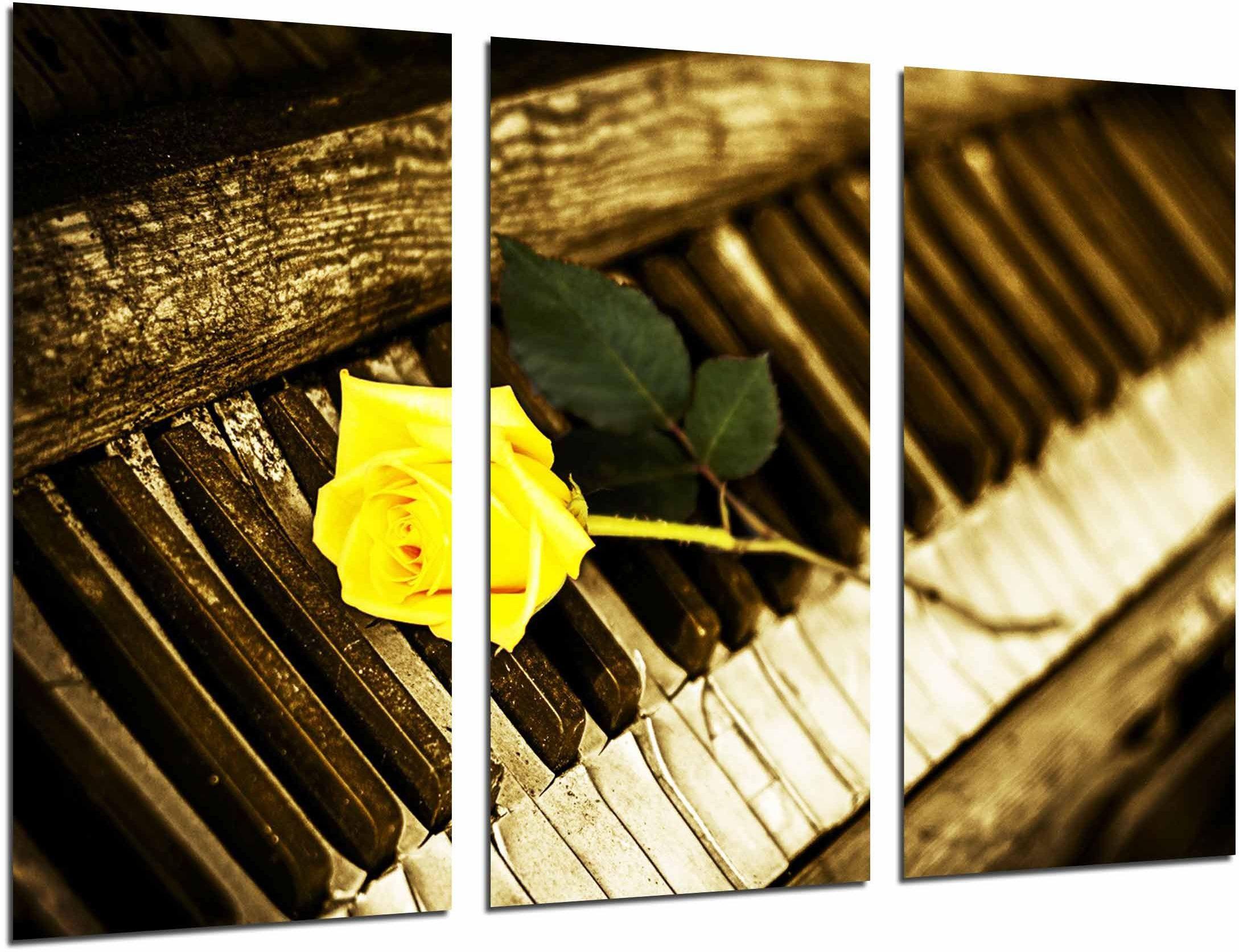 Ref.26755 obraz ścienny - fortepian vintage różowy żółty, romantyczny, 97 x 62 cm, druk drewniany - format XXL - druk artystyczny, nr ref.26755