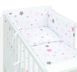 MAMO-TATO Ochraniacz dla niemowląt do łóżeczka 60x120 - Gwiazdozbiór różowy