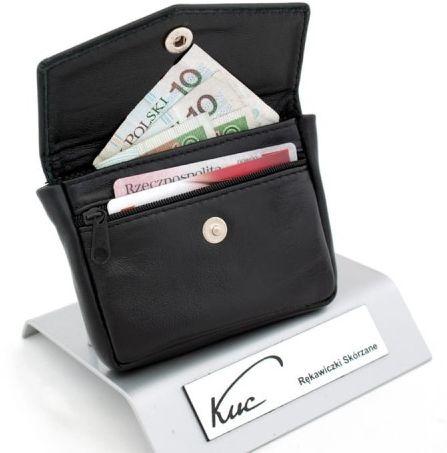 Klasyczny mały portfelik, portmonetka skórzana z etui na klucze