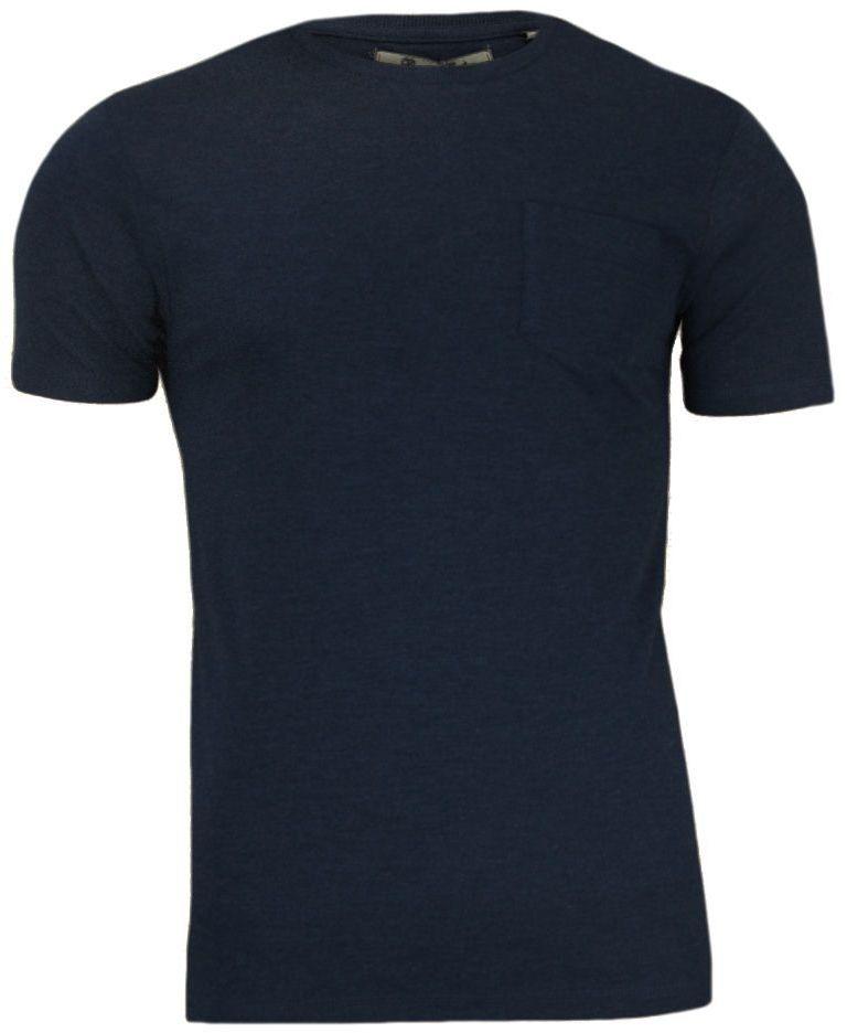 Granatowy T-Shirt (Koszulka) z Kieszonką, Bez Nadruku - Brave Soul- Męski, 100% Bawełna TSBRSSS20ARKHAMrichnavy