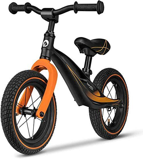 LIONELO Bart Air rowerek biegowy do 30kg, piankowe koła EVA, magnezowa rama, eko-skóra, wyprofilowany podnóżek, antypoślizgowe nakładki, uchwyt do przenoszenia, miękka struktura