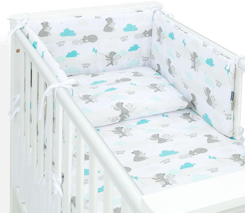 MAMO-TATO Ochraniacz dla niemowląt do łóżeczka 60x120 - Niedźwiadki z morskim
