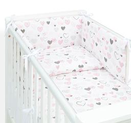 MAMO-TATO Ochraniacz dla niemowląt do łóżeczka 60x120 - Pastelowe serduszka