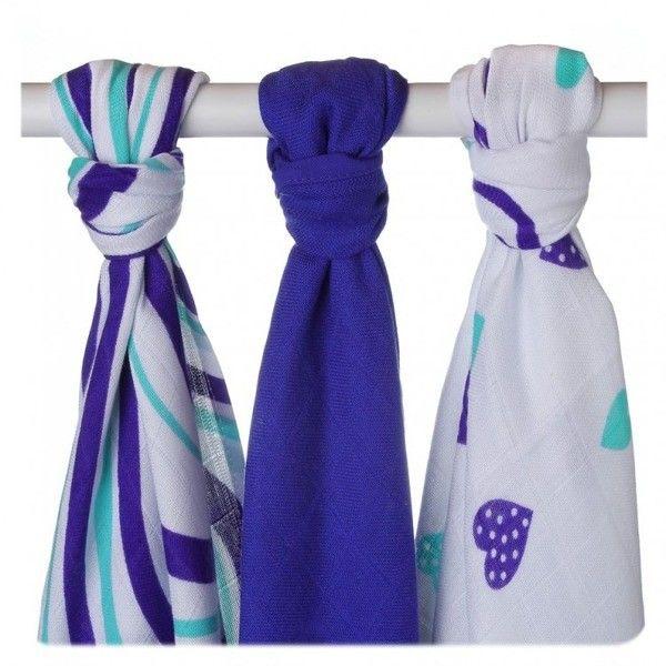Ręcznik bambusowy XKKO BMB 90x100 - Ocean Blue Hearts
