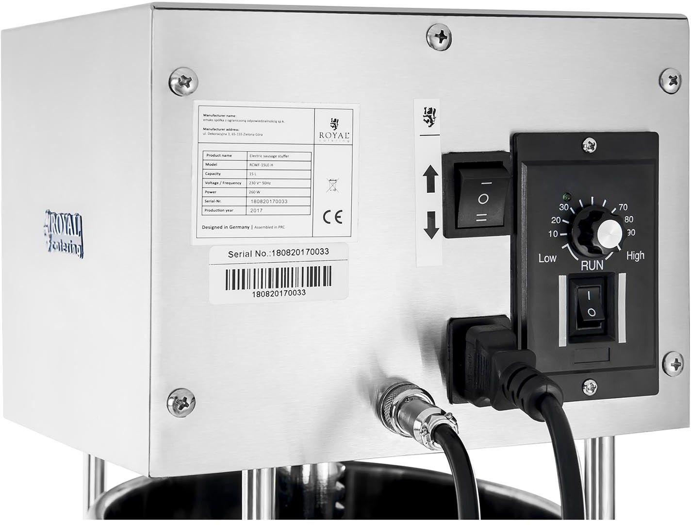 Nadziewarka do kiełbas - 15 litrów - elektryczna - Royal Catering - RCWF-15LE-H - 3 lata gwarancji/wysyłka w 24h