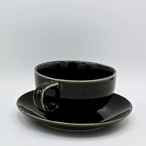 broste Copenhagen Nordic Coal filiżanka do herbaty ze spodkiem, czarna