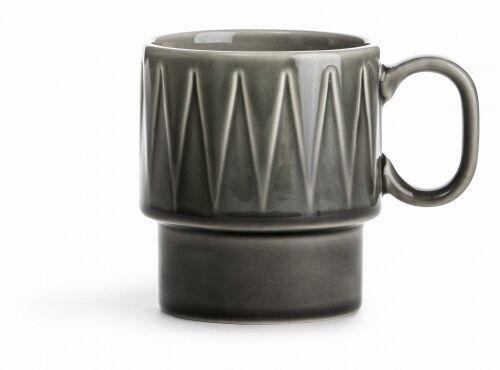 filiżanka do kawy, szara, ceramika, 0,25 l, wys. 9 cm