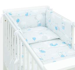 MAMO-TATO Ochraniacz dla niemowląt do łóżeczka 60x120 - Baloniki niebieskie