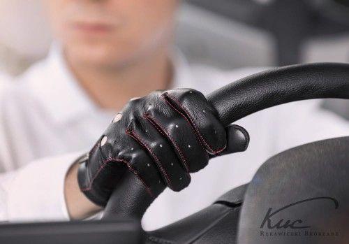 Skórzane rękawiczki samochodowe - szyte kolorową nitką