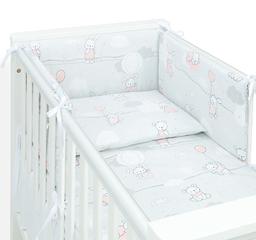 MAMO-TATO Ochraniacz dla niemowląt do łóżeczka 60x120 - Baloniki różowe