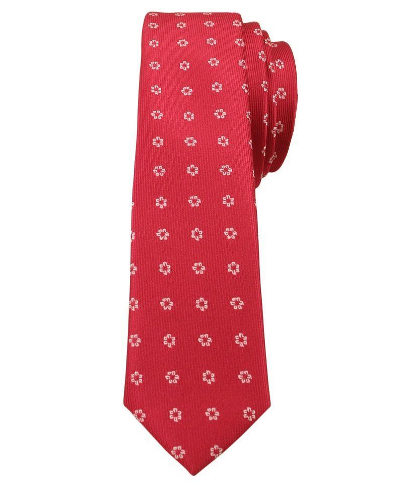 Czerwony Stylowy Krawat (Śledź) Męski w Białe Kwiatki -ALTIES- 5 cm, Wąski, Motyw Florystyczny KRALTStani0225