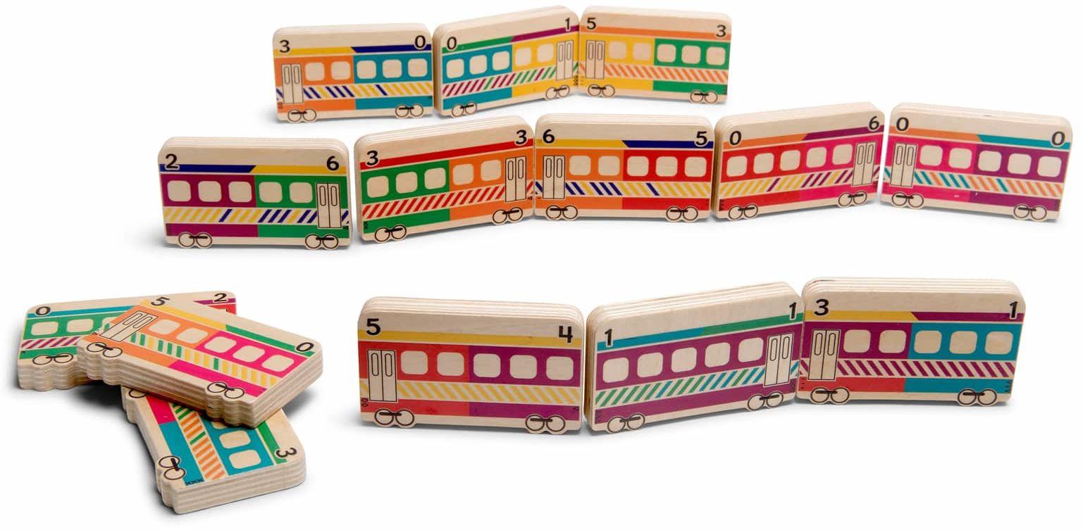 Drewniane domino pociągi - 28 wagonów